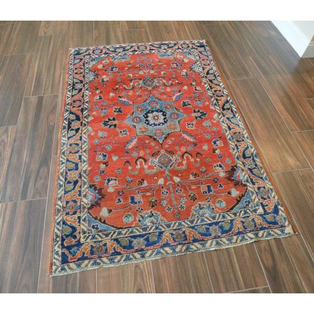 "Vintage Persian Lilihan Rug - 4' x 5'11"" For Sale - Image 9 of 11"