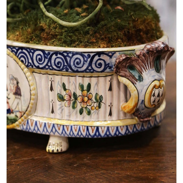 Blue 19th Century French Hand Painted Faience Jardinière Signed Hb Quimper For Sale - Image 8 of 13