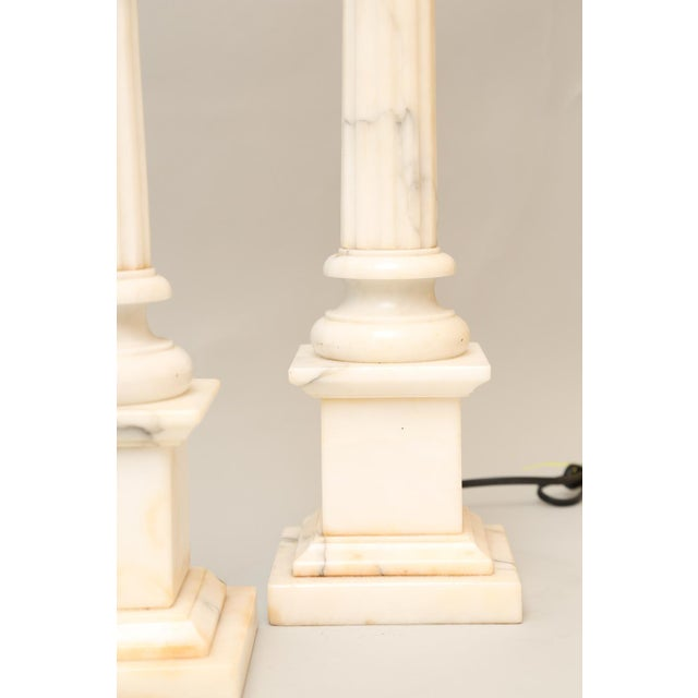 Pair of Carved Alabaster Columnar Form Table Lamps For Sale - Image 10 of 12
