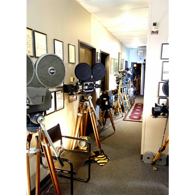 Brown Hollywood Mid Century Movie Camera With Geared Head and Vintage Wood Tripod Legs For Sale - Image 8 of 9