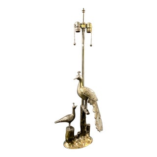Pair Marbro Mid-Century Brass Peacock Lamps For Sale