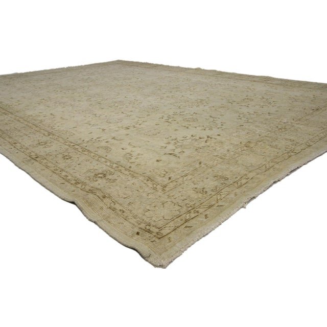 """French Country Vintage Distressed Turkish Rug - 6'11"""" X 9'10"""" For Sale - Image 3 of 6"""
