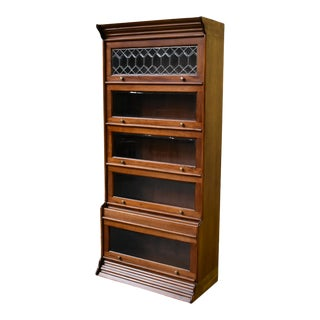 Crafters and Weavers Legacy 5 Stack Barrister Bookcase - Light Brown Walnut For Sale