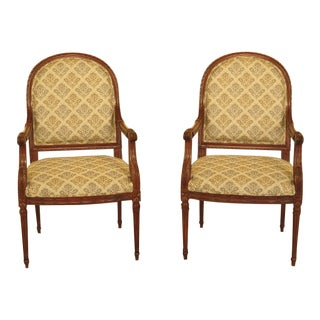 Contemporary French Louis XVI Open Arm Upholstered Chairs - a Pair