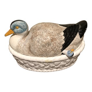 1960s Country Portuguese Holiday Duck Tureen For Sale