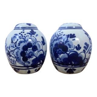 Vintage Blue & White Floral Delft Salt & Pepper Shakers- a Pair For Sale
