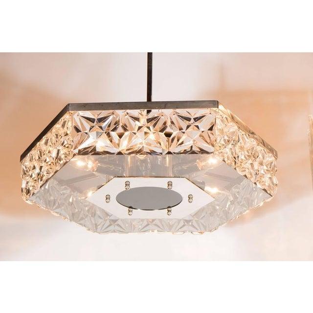 Mid-Century Modern Mid-Century Modernist Faceted Crystal Hexagonal Chandelier by Kinkeldey For Sale - Image 3 of 10
