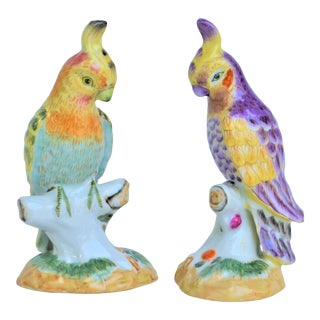 1970s Chinese Export Porcelain Cockatiel Majolica Figurines - a Pair For Sale