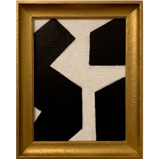 This bold and graphic black and white acrylic painting is framed in a vintage wood frame painted in gold leaf. Painting:...
