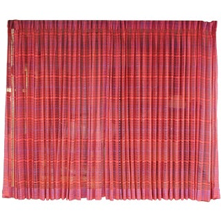 Vintage Mid Century Modern Purple & Pink Woven Hanging Drapes - a Pair