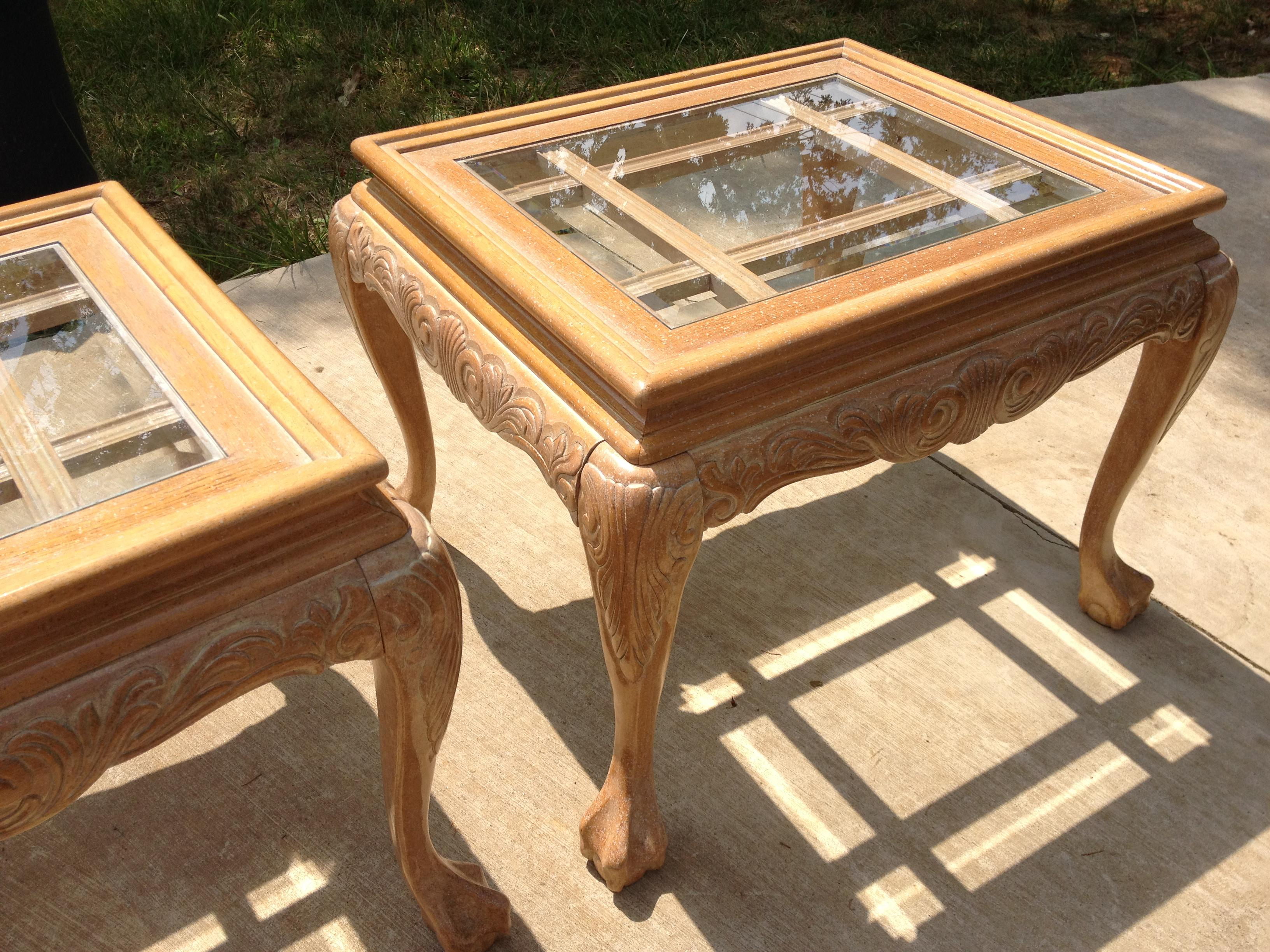 White Oak Chippendale Carved End Tables With Beveled Glass Tops   A Pair    Image 10