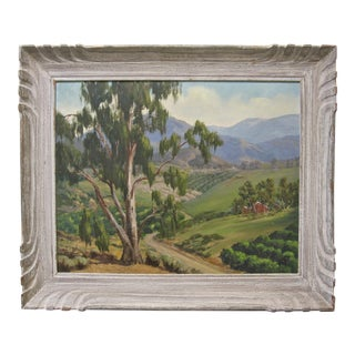 1950s Vintage California Landscape Eucalyptus Trees Edith Purer Painting For Sale