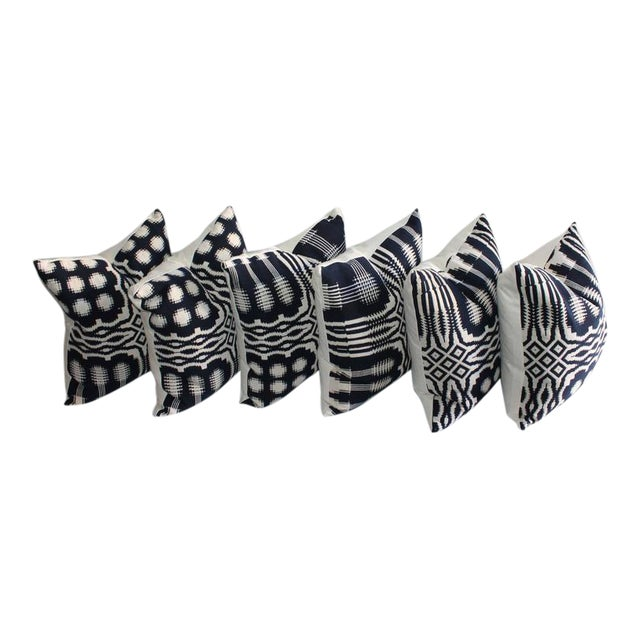 19th Century Handwoven Jacquard Coverlet Pillows For Sale