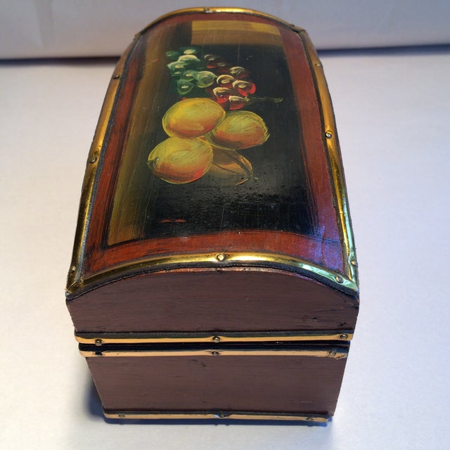 Italian Vintage Hand Painted Fruit Motif Wooden Box For Sale - Image 3 of 11