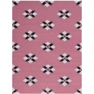 Zara Southwestern Pink Flat-Weave Rug 5'x8' For Sale