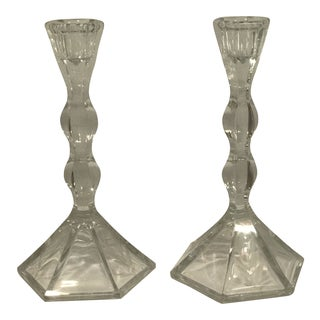 Vintage Floral Etched Crystal Candle Holders - a Pair For Sale