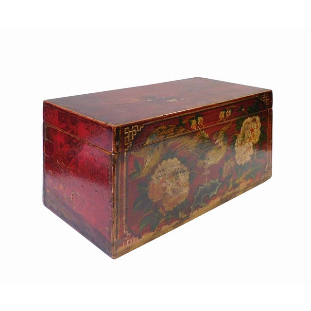 Vintage Red Flower Rectangular Wooden Box - Image 3 of 6