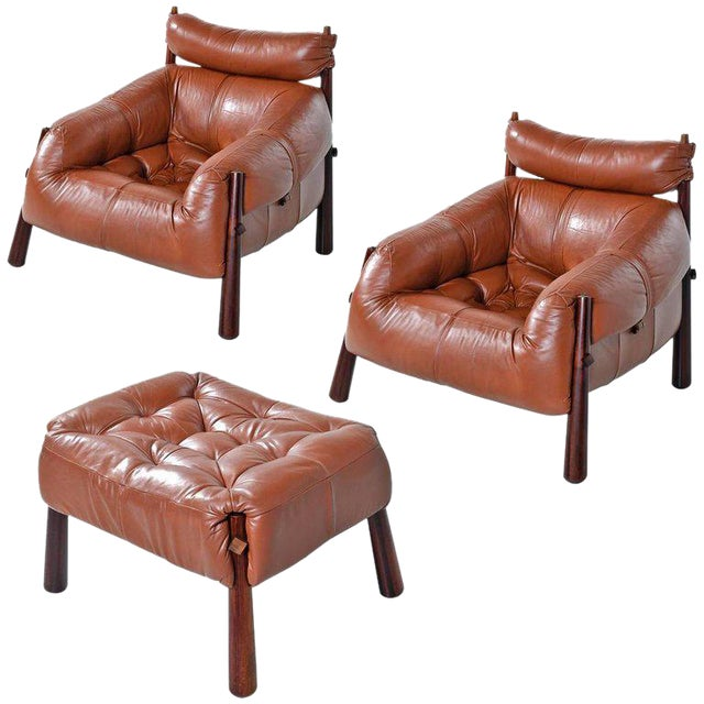 Percival Lafer Mp-81 Brazilian Rosewood & Leather Lounge Chairs and Ottoman Set For Sale