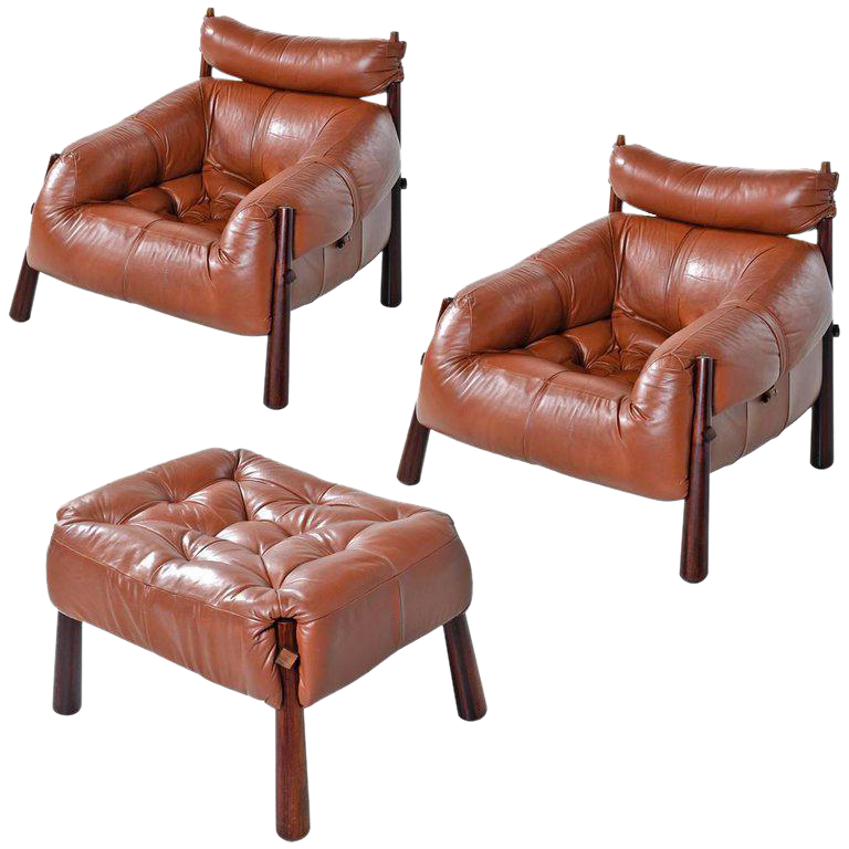 Percival Lafer Mp 81 Brazilian Rosewood U0026 Leather Lounge Chairs And Ottoman  Set For Sale