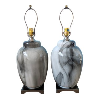 Large 20th Century Art Deco White, Gray and Black Marbled Glass Table Lamps - a Pair For Sale