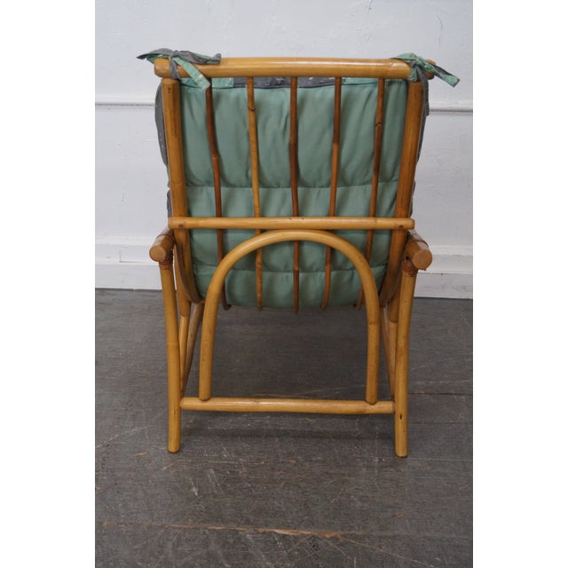 Mid-Century Rattan Frame High Back Lounge Chair - Image 4 of 10