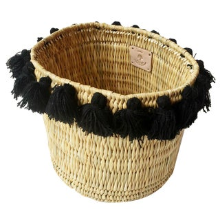 Moroccan Large Black Tassel Basket For Sale