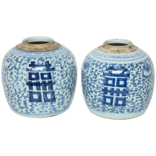Chinese Blue/White Double Happiness Cache Pots - a Pair For Sale