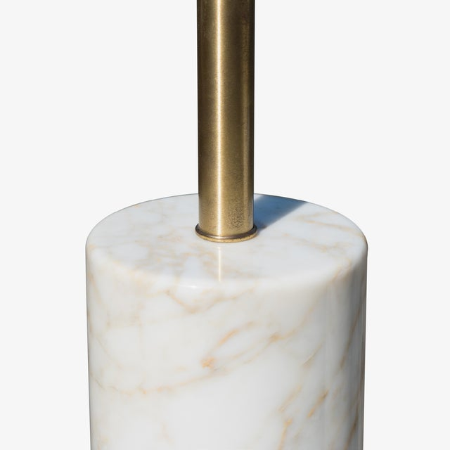 Mid-Century Modern Table Lamps in Calacatta Marble & Brass by Nessen Lamps - a Pair For Sale - Image 3 of 6