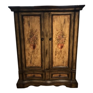 1990s Cottage Style TV Armoire For Sale