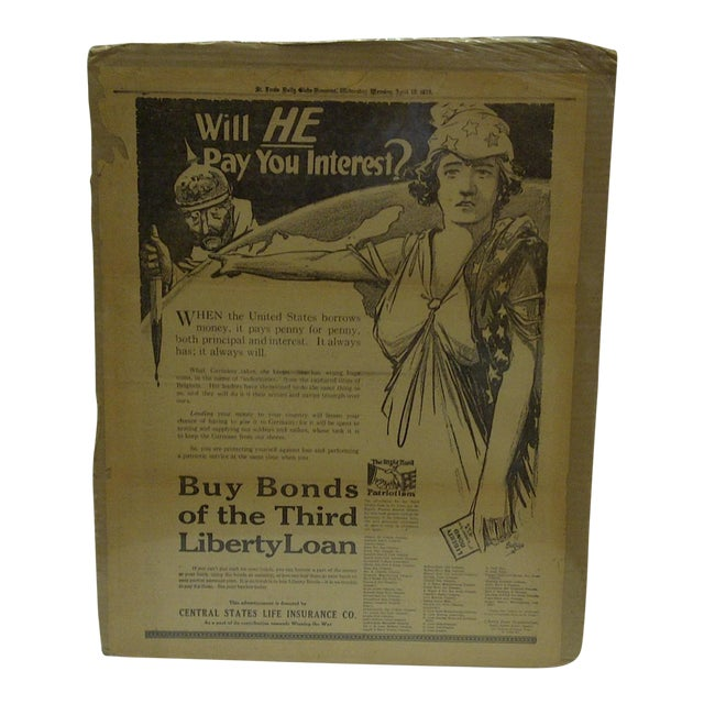 Vintage World War I War Bond Advertisement Newspaper Poster For Sale