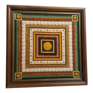 Vintage Cottage Block Style Needlepoint For Sale