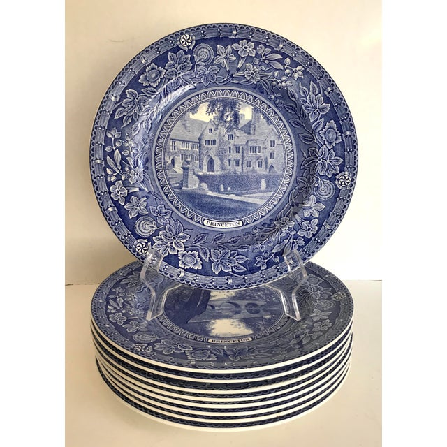 1930 Wedgwood Princeton University Blue and White Dinner Plate Set of 9 For Sale - Image 12 of 12