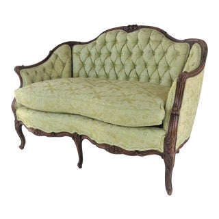 Louis XV Style Light Green Tufted Settee For Sale