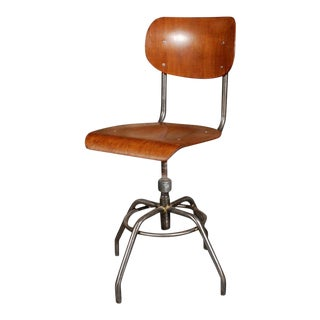 1920 French Wood And Metal Swivel Chair For Sale