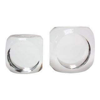 French Modern Crystal 'Cube' Paperweights by Schneider of Paris For Sale