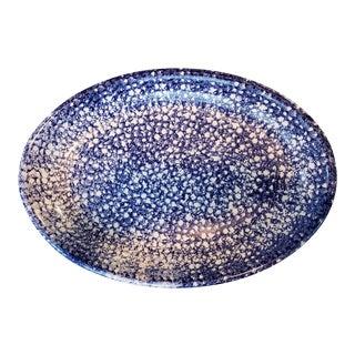 Large Vintage Italian Blue and White Spongeware Shallow Bowl Platter For Sale