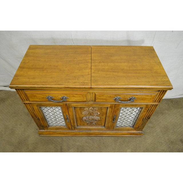 Brown Davis Cabinet Co. Solid Walnut French Provincial Flip Top Server For Sale - Image 8 of 11