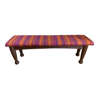Contemporary Classics Wood Upholstered Bench For Sale
