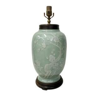 Vintage Celedon Lamp With Floral White Decoration