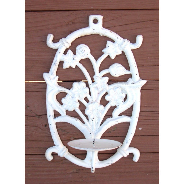 Painted White Cast Iron Floral Candle Sconces - 2 - Image 4 of 11