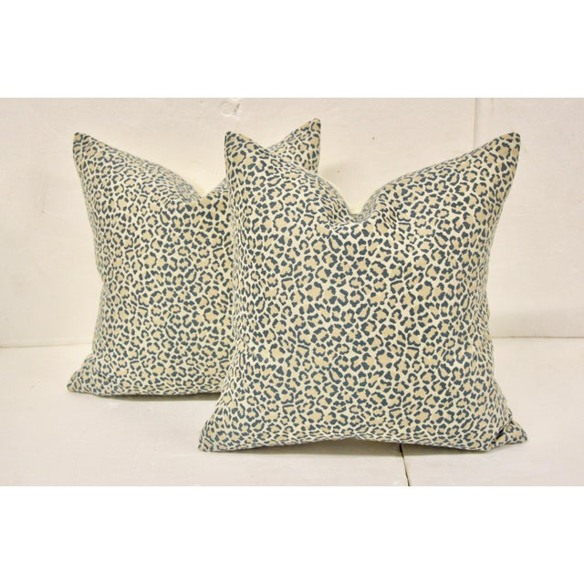 Dusty Blue Linen Leopard Pillows, Pair For Sale In Richmond - Image 6 of 6