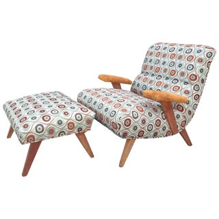 1940s Mid-Century Modern Scoop Lounge Chair and Ottoman - 2 Pieces
