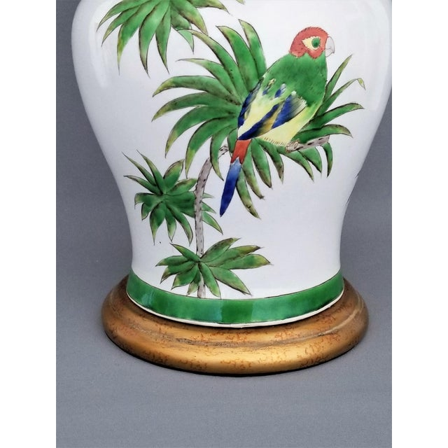 Brass Vintage Parrot and Palm Leaf Ceramic Ginger Jar Table Lamp - Mid Century Organic Modern Boho Chic Tropical Coastal MCM For Sale - Image 7 of 11