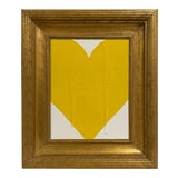 Image of Ron Giusti Mini Heart Cream Yellow Painting, Framed For Sale