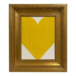 Ron Giusti Mini Heart Cream Yellow Painting, Framed For Sale