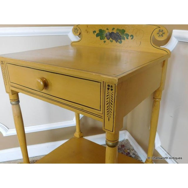 Pink Sheraton 19 C. Painted Country Washstand Table For Sale - Image 8 of 9