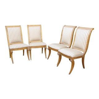 Vintage Century Furniture Ind. Solid Wood Striped Dining Chairs - Set of 4 For Sale