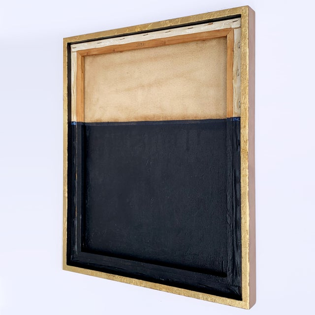 Abstract Minimal Abstract Black and Tan Framed Painting For Sale - Image 3 of 11