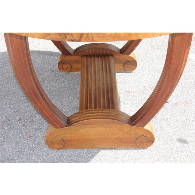 French Art Deco Solid Walnut Oval Dining Table ''U'' Legs Base Circa 1940s For Sale In Miami - Image 6 of 13