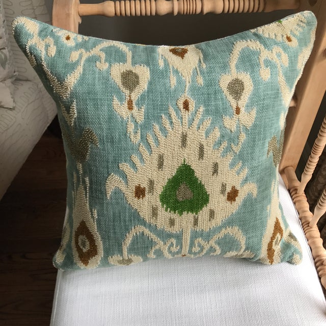 Beaded Aqua Ikat Pillow - Image 2 of 7